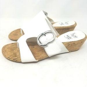 Impo Memory Foam White Wedge Flip Flops Sandals